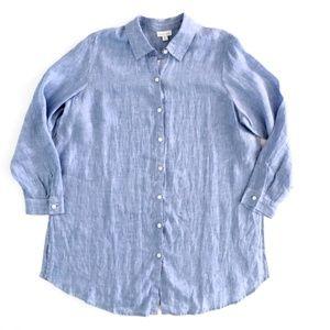 J. Jill Women's Shirt Linen Blue Shirt NWT